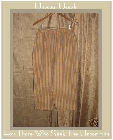 Jeanne Engelhart Flax Striped Linen Capri Pants Small S