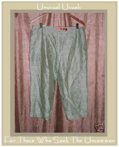 KIT APRIL CORNELL EMBROIDERED SILK RAYON CAPRI PANTS SIZE 8