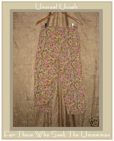 Cute PUTUMAYO Funky Floral Cotton Capri Pants Medium M