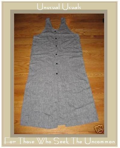 FLAX GRAY GRANITE BUTTON DRESS JEANNE ENGELHART SMALL S