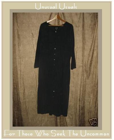 EILEEN FISHER Soft Black Silk Button Dress 2 Medium M