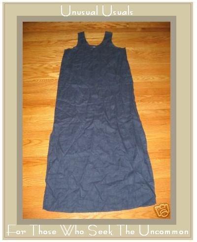 FLAX DEEP BLUE SLIPSTER DRESS JEANNE ENGELHART SMALL S