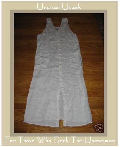 FLAX CREAM LINEN BUTTON DRESS JEANNE ENGELHART PETITE P