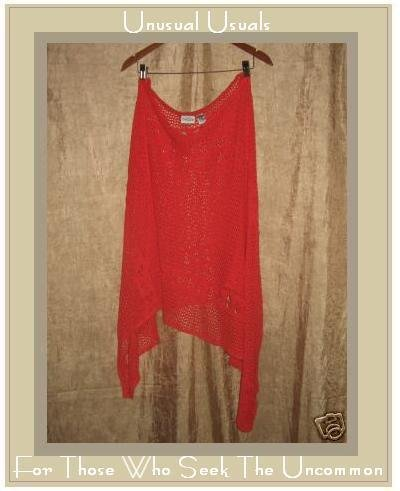 Chico's Design Red Ramie Boho Poncho Sweater One Size