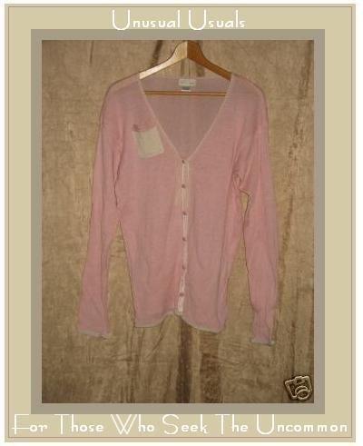 NEESH by DAR Pink & Cream Cardigan Pocket Tunic Sweater Large L