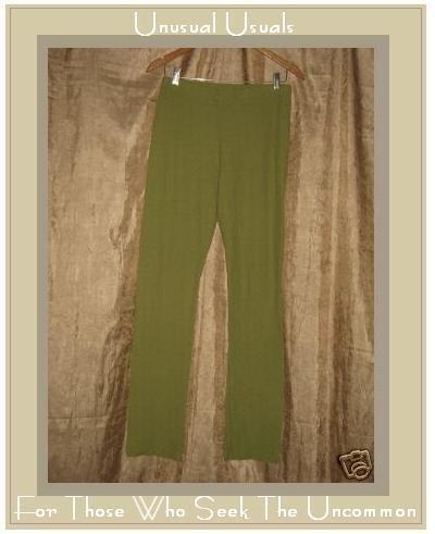 FLAX Leafy Green Pucker Textured Cotton Pants Medium M