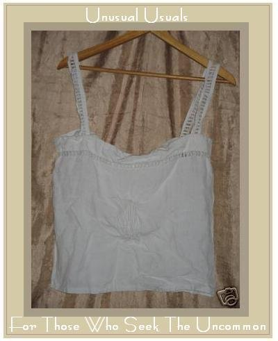 OOAK Vintage White Embroidered Linen Tank Top Shirt Small Medium S M