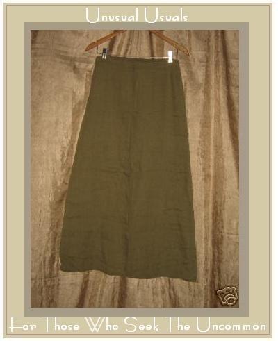 DAVID ALBOW New York Olive Drab Long Linen Skirt Medium