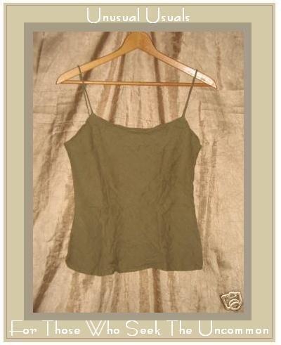 DAVID ALBOW New York Olive Drab Linen Bias Tank Shirt Medium M