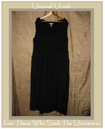 PETTICOAT LANE Soft Black Dimensional Roses Dress 22