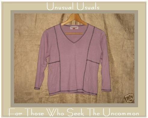 SOLITAIRE Soft Purple Cotton Seams LS Tee Shirt Top Small Medium S M