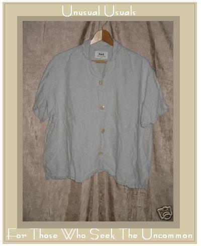 Flax by Jeanne Engelhart Gray LINEN Button Shirt Top Large L