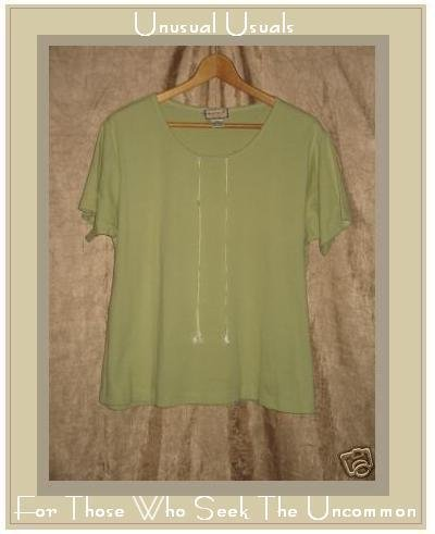 APRIL CORNELL Soft Green Cotton Tee Shirt Top XLarge XL