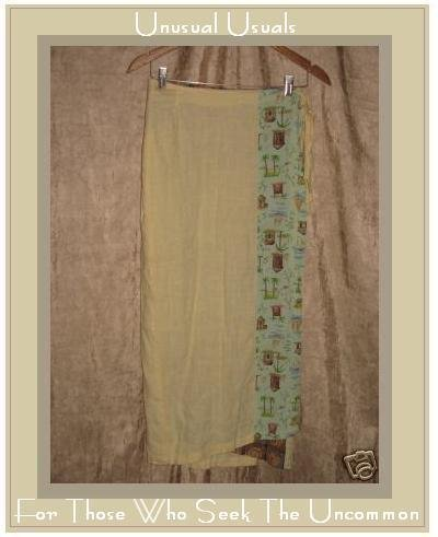 POMEGRANATES IN THE SUN Long Yellow Wrap Skirt Small S