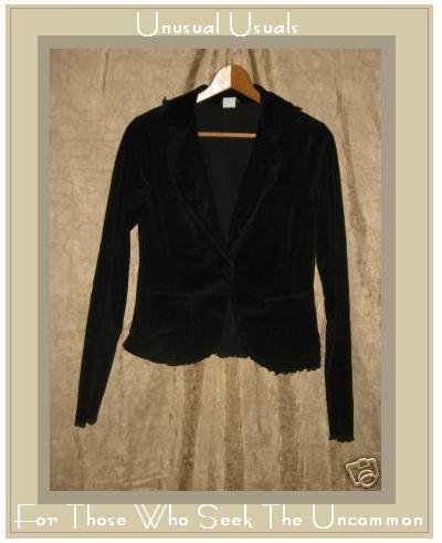 LUNA CHIX Shapely Black Raw Trim Corduroy Jacket Large L