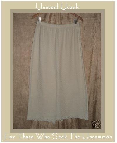 CLOTHESPIN Soft Cream Cotton knit Ruffle SKIRT Large L