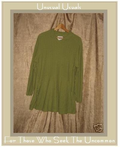 FLAX Green Textured Cotton Swing Tunic Top Shirt Small S