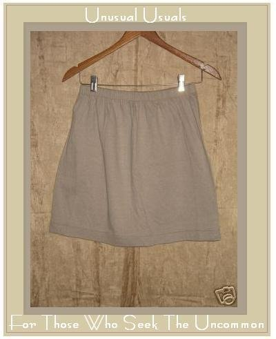 FLAX by Jeanne Engelhart Short Soft Taupe Cotton Skirt Small S