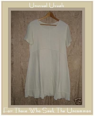 CLOTHESPIN Assymetrical Cream Cotton Tunic Dress Medium M
