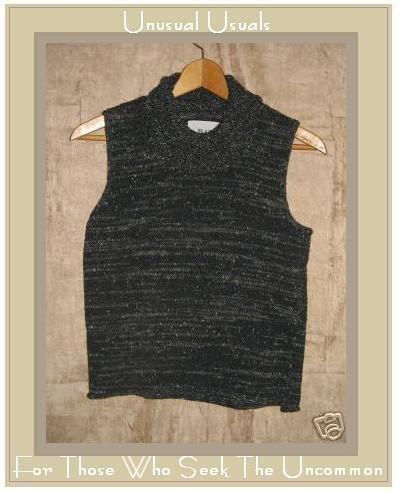 FLAX by Jeanne Engelhart Black Turtleneck Sweater Small Medium S M