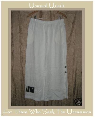 MY TRIBE by Joy Burton Boutique White Linen Skirt XL
