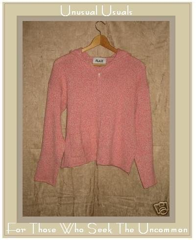 FLAX Pink Hoody Cardigan Sweater Jeanne Engelhart Small Medium S M