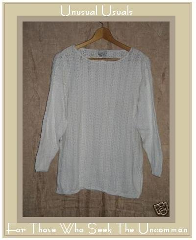 EILEEN FISHER NY White Cotton Tunic Sweater Size 1 Small Medium S M