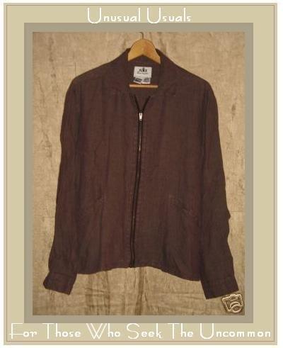 FLAX by Jeanne Engelhart Boxy Linen Zipper Jacket SMALL