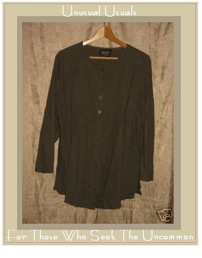 EILEEN FISHER NY Green Silk Button Shirt Tunic Top Small Medium S M