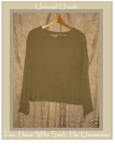 CLICK Earthy Textured Tencel Boxy Tunic Shirt Top M