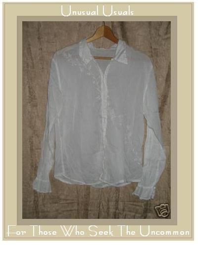 WHITEWASH Soft White Embroidered Cotton Shirt Top Large L