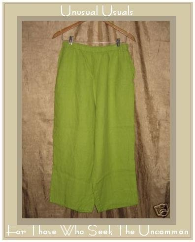 FLAX Jeanne Engelhart Bright Green LINEN Floods Pants MEDIUM M