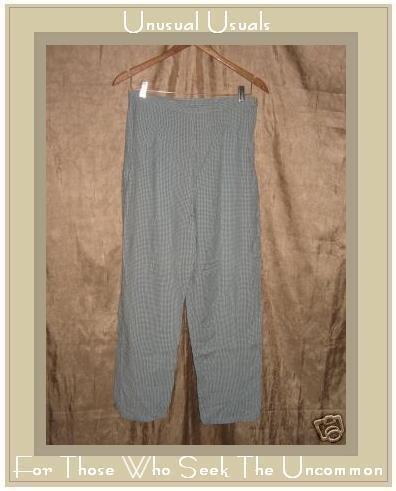 PUTUMAYO Blue check Rayon Cotton Side Zip Capri Pants LARGE L