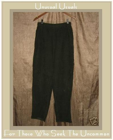 Jeanne Engelhart Flax Green Cotton Corduroy Pants SMALL S