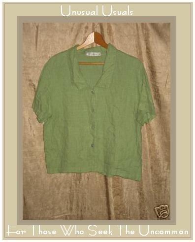 CUT LOOSE Leafy Green LINEN Button Shirt Top X-Large XL