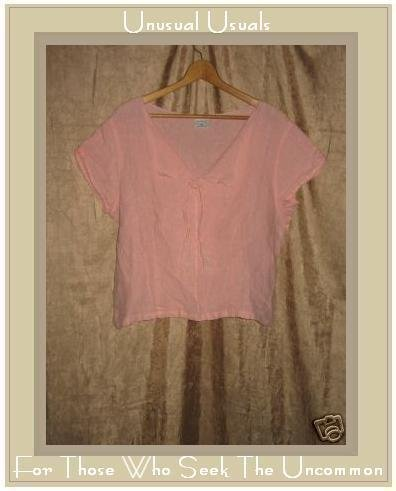 CLICK Soft Pink Shapely Linen Pullover Top Shirt X-Large XL