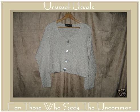 Joan Hayman Boutique Cropped Ecru Basket Weave Cardigan Sweater