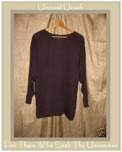Eileen Fisher Eggplant Silk Pullover Tunic Top Shirt Small Medium S M