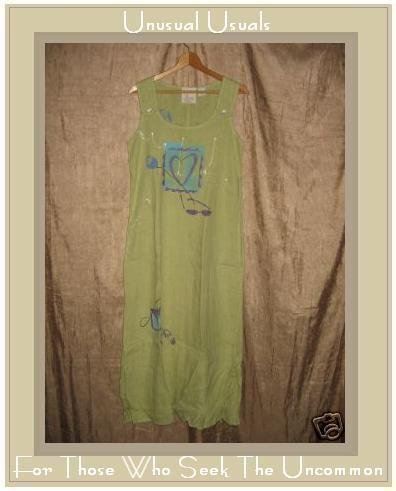 L. J. OMODT DESIGN Long Painted LINEN Jump Dress Small S