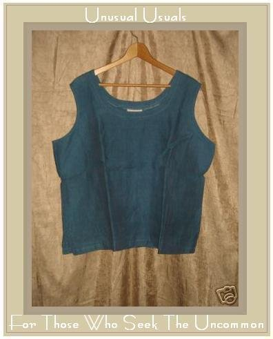 COLDWATER CREEK Night Sky LINEN Tank Shirt Top Shell 2X