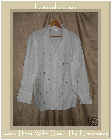 RICHARD MALCOLM Irish Linen Button Shirt Top Large L
