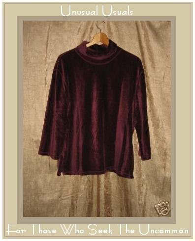 J. Jill Soft Berry Velour Knit Pullover Shirt Top XL X-LARGE