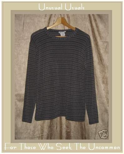 FLAX by Jeanne Engelhart Striped Knit Tunic Top Shirt MEDIUM M
