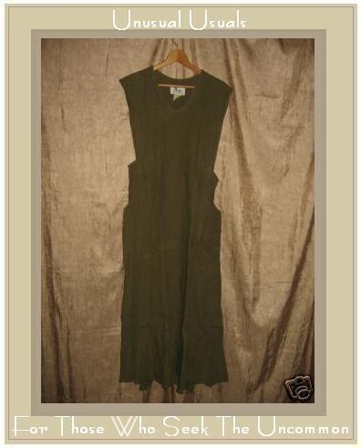 FLAX by Jeanne Engelhart OLIVE LINEN Jumpment Dress SMALL S