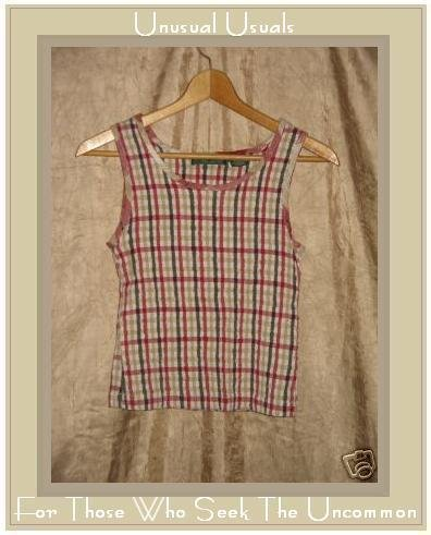 LEMON GRASS Puckered Plaid Pullover Tank Top Shirt SMALL S