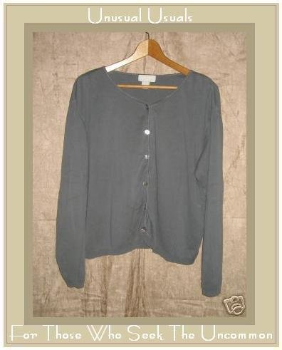 J. Jill Gray Cotton Button Cardigan Shirt Top Medium M