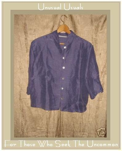 Bryn Walker Boxy Purple Hemp & Silk Button Top Jacket Small S