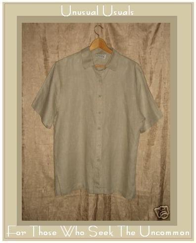 EILEEN FISHER Linen Button Top Shirt Large L