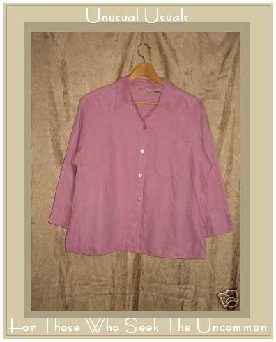 Chico's Design Pink LINEN Button Shirt Top Size 0 Small S