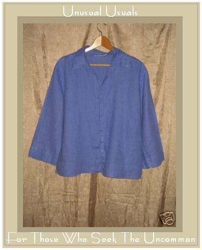 Chico's Design Blue LINEN Button Shirt Top Size 2 Large L